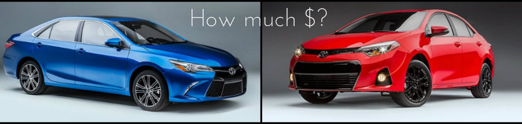 how much will the 2016 toyota camry and corolla special edition cost Vacaville CA