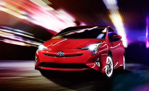 2016 Toyota Prius from the front in motion