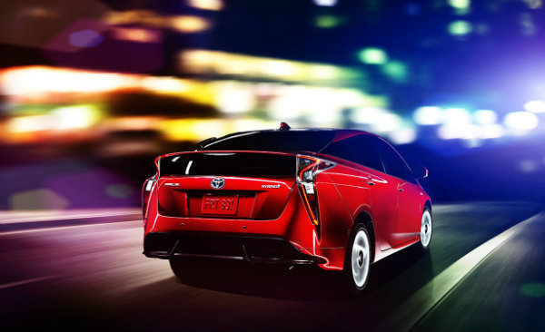 2016 Toyota Prius from behind in motion