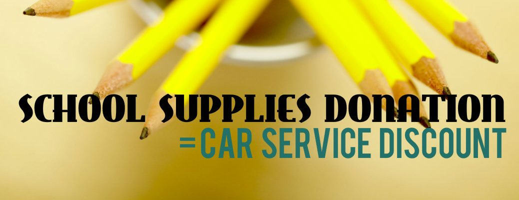 Car service discount for school supplies donation Vacaville CA