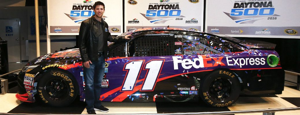 Denny Hamlin with his Joe Gibbs Racing No. 11 FedEx Camry