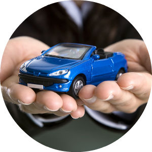 woman holding blue toy car