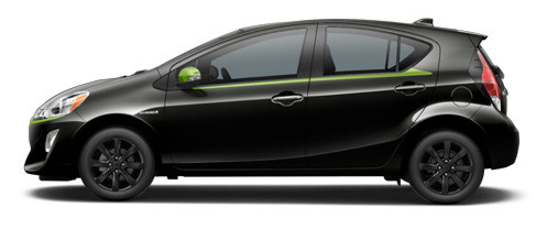 2017 Prius c in Black Sand with Electric Lime