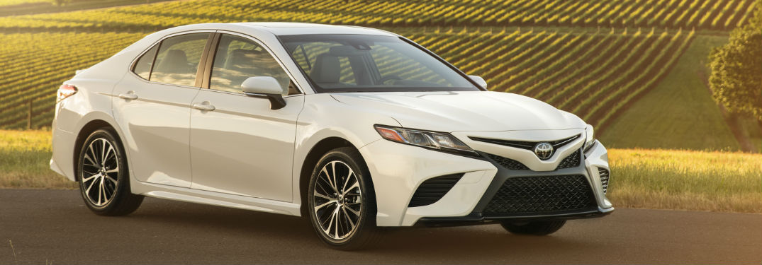 2018 Toyota Camry model in front of vineyard