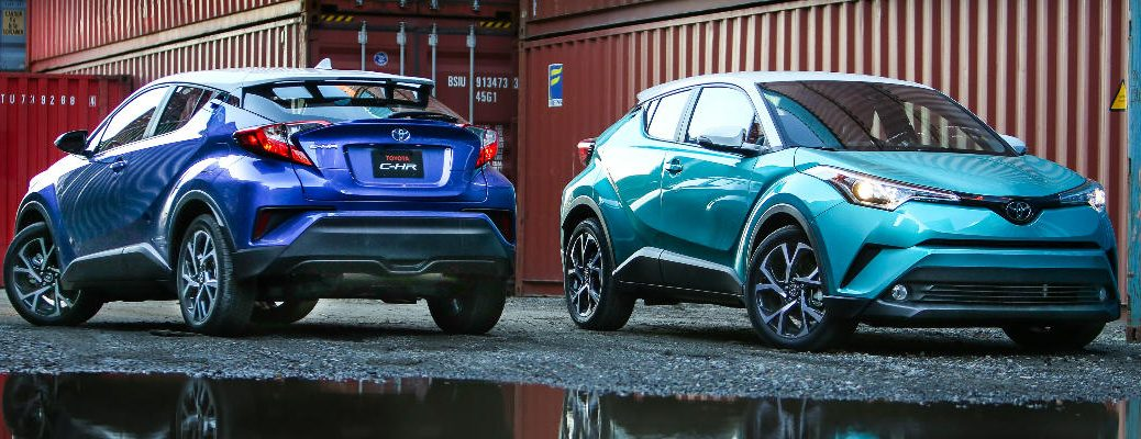Two blue 2018 Toyota C-HR models next to each other