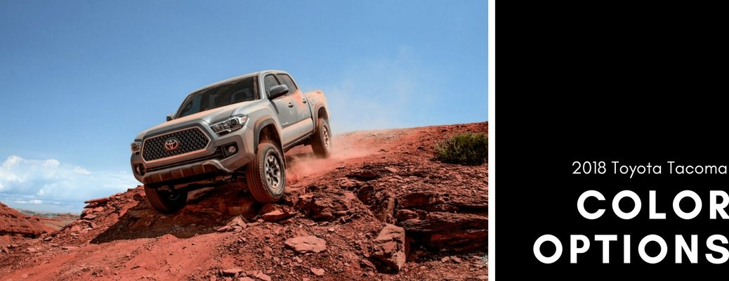 2018-Toyota-Tacoma-TRD-Off-Road-in-Cement-driving-down-rocky-decline-next-to-color-options-wording