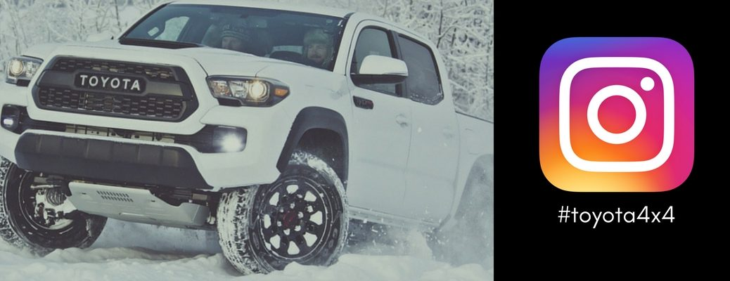 white-Toyota-Tacoma-TRD-Pro-driving-off-road-next-to-Instagram-logo-and-toyota4x4-hashtag