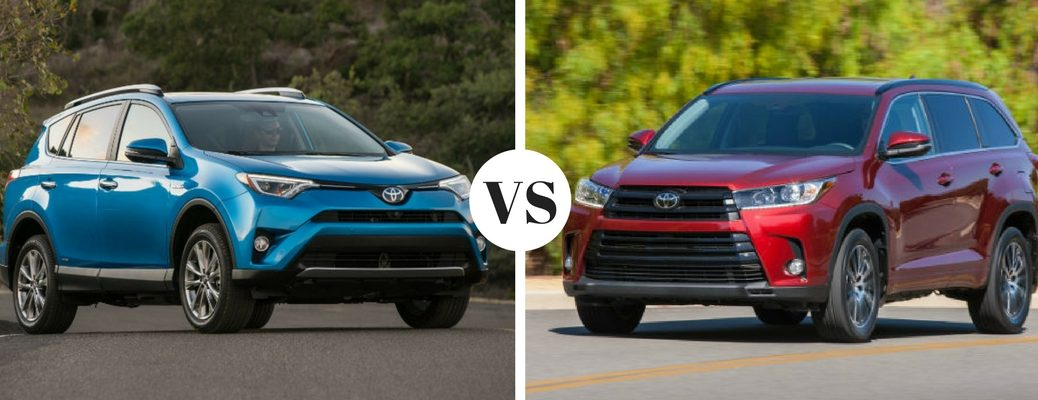 blue-2018-Toyota-RAV4-set-next-to-dark-red-2018-Toyota-Highlander