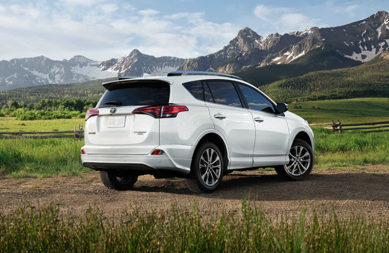 white 2018 Toyota RAV4 parked in field by mountains