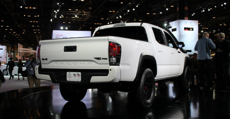 back-end-of-white-2019-Toyota-Tacoma-TRD-Pro-on-display-at-Chicago-Auto-Show