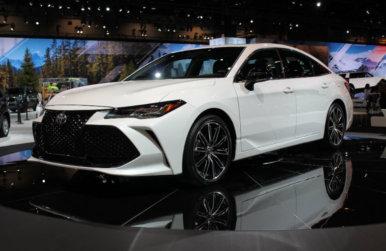 front-side-view-of-white-2019-Toyota-Avalon