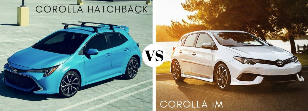 bright-blue-2019-Toyota-Corolla-Hatchback-set-against-white-2018-Toyota-Corolla-iM
