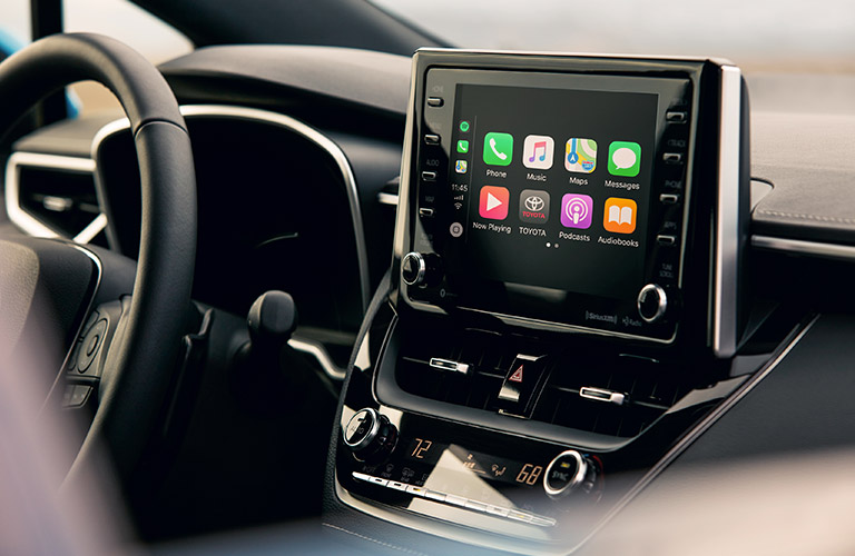 center console and display screen in 2019 Toyota Corolla Hatchback