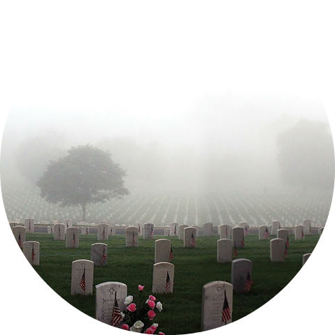 foggy view of a cemetery on Memorial Day