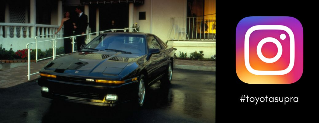 black-Toyota-Supra-model-parked-outside-next-to-Instagram-logo-and-toyotasupra-text
