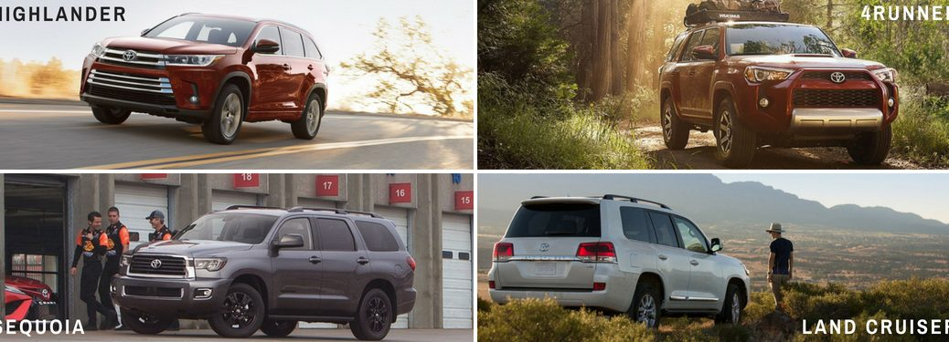 2018-Toyota-Highlander-4Runner-Sequoia-and-Land-Cruiser-pictured-in-grid-with-respective-model-title