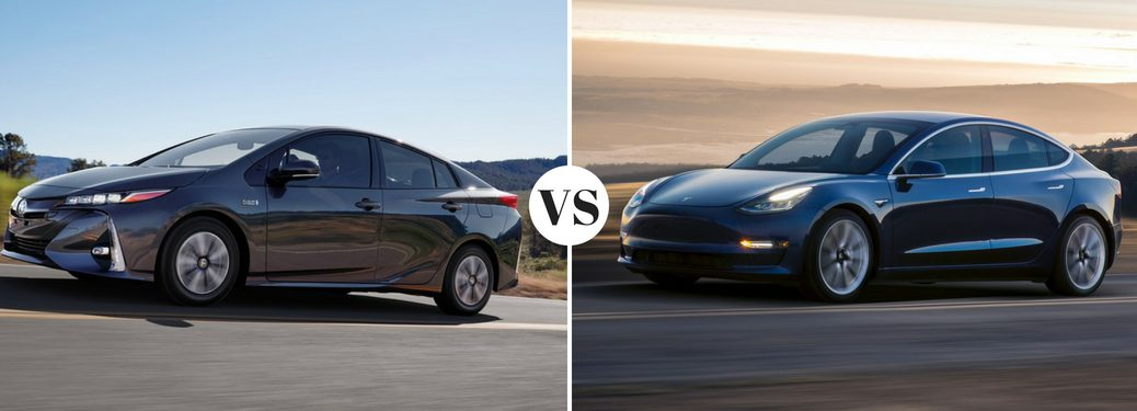 2018-Toyota-Prius-Prime-VS-2017-Tesla-Model-3-pictured-side-by-side