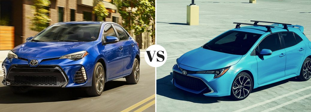 blue-2019-Toyota-Corolla-set-against-teal-2019-Toyota-Corolla-Hatchback