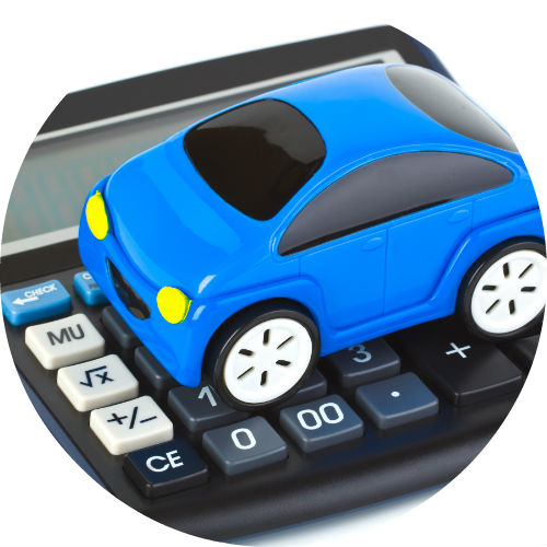 toy blue car on top of calculator