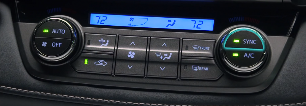 What do the dual-zone automatic climate control buttons mean in the Toyota RAV4?