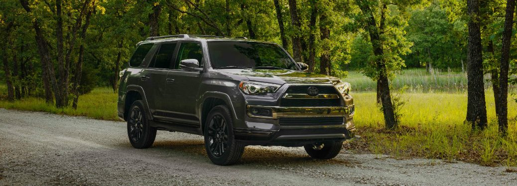 gray-2019-Toyota-4Runner-Nighshade-driving-through-wooded-area