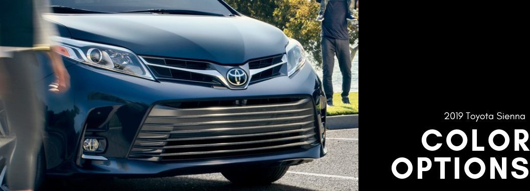 2019-Toyota-Sienna-color-options-title-with-close-up-of-Sienna-front-grille
