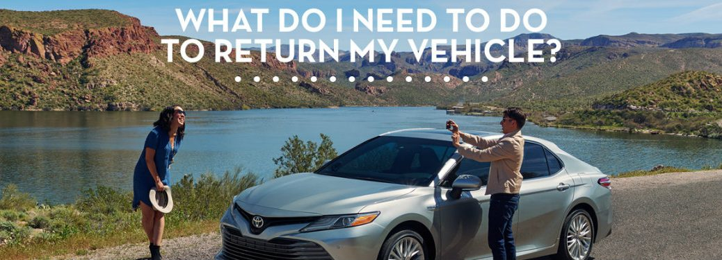 man-taking-picture-of-woman-with-silver-Toyota-Camry-and-what-do-I-need-to-do-to-return-my-vehicle-wording