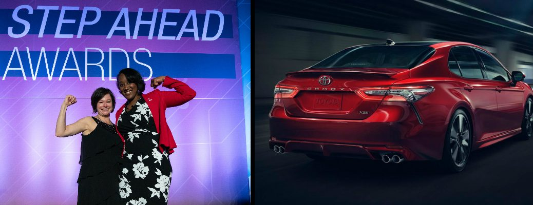 Two Toyota Team Member Honorees at 2019 STEP Ahead Awards and a red 2019 Toyota Camry