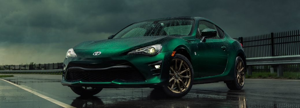 Front view of green 2019 Toyota 86 Hakone Edition