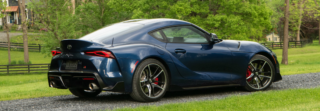 Blue 2020 Toyota GR Supra parked on a gravel road