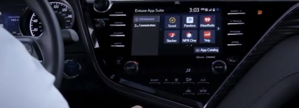 Entune App Suite Connect on the touchscreen of a Toyota Camry Hybrid