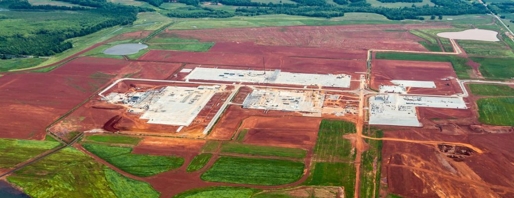 Overhead View Toyota-Mazda Manufacturing Plant in Huntsville Alabama