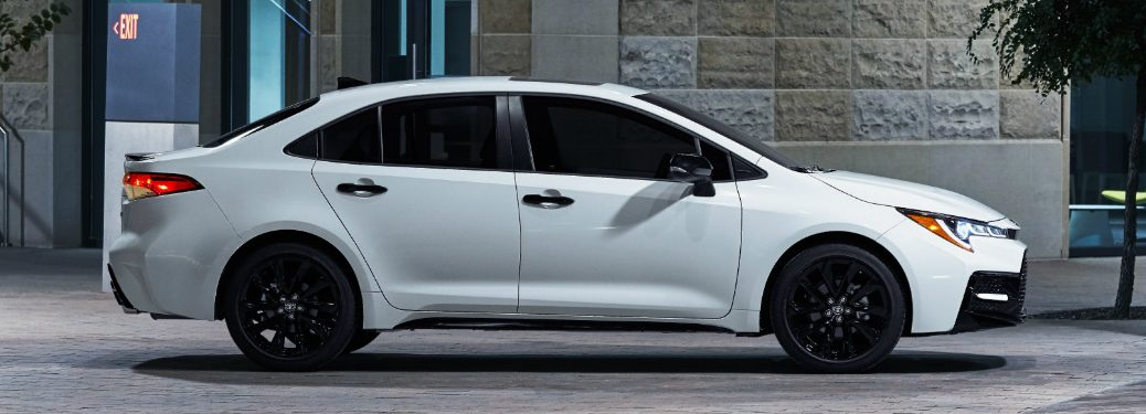 Side view of white 2020 Toyota Corolla Sedan Nightshade Edition