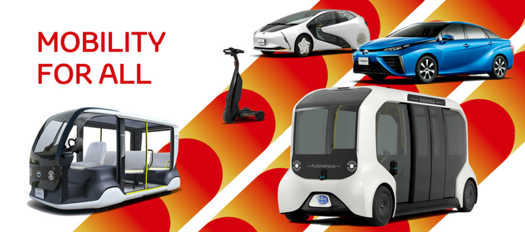 Mobility for All title and Toyota electricfied vehicles at Tokyo 2020