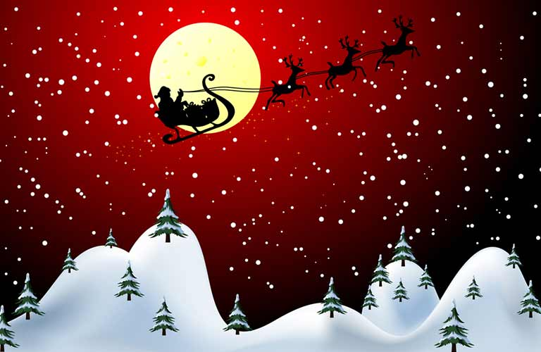 Silhouette of Santa and his reindeer flying in front of the moon