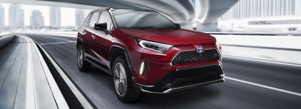 Front view of red 2020 Toyota RAV4 Prime