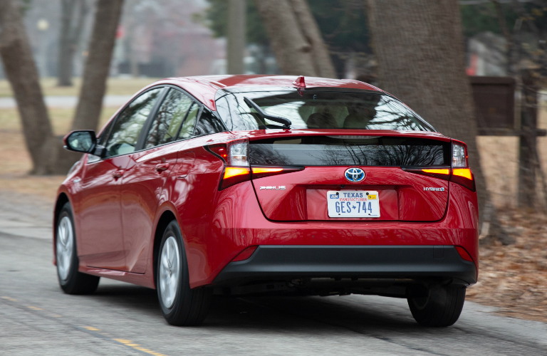 Rear view of red 2020 Toyota Prius