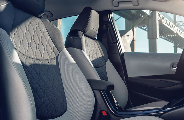 Two-tone grey front seats in 2020 Toyota Corolla Hybrid