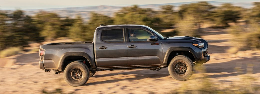 Side view of dark grey 2020 Toyota Tacoma