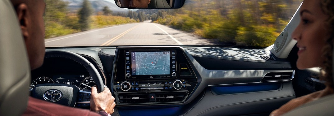 View of the road from the cabin of a 2020 Toyota Highlander
