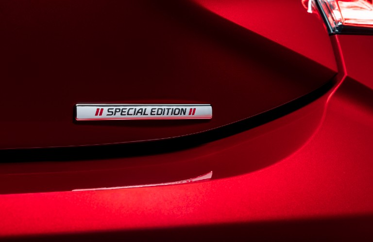 Special Edition badge on red 2021 Toyota Corolla Hatchback Special Edition