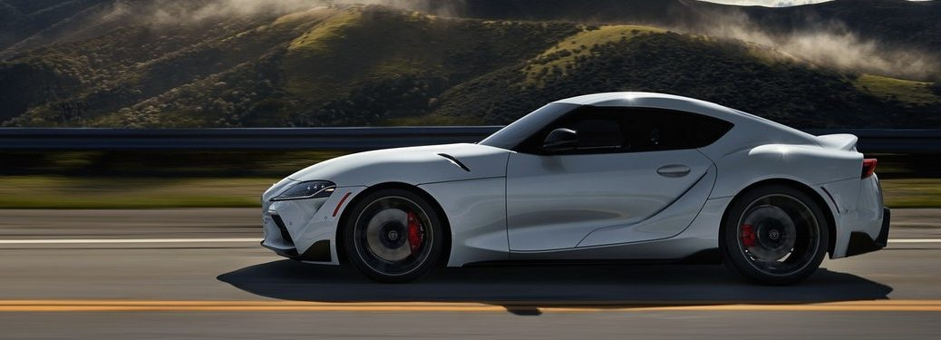 Side view of white 2020 Toyota GR Supra