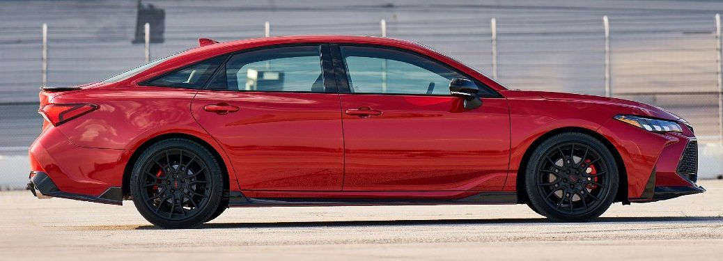 Side view of red 2020 Toyota Avalon