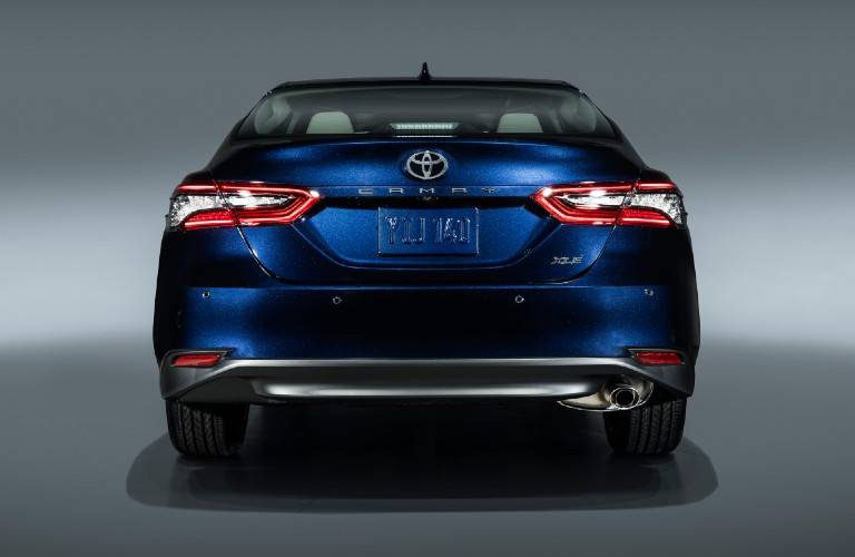 Rear view of blue 2021 Toyota Camry