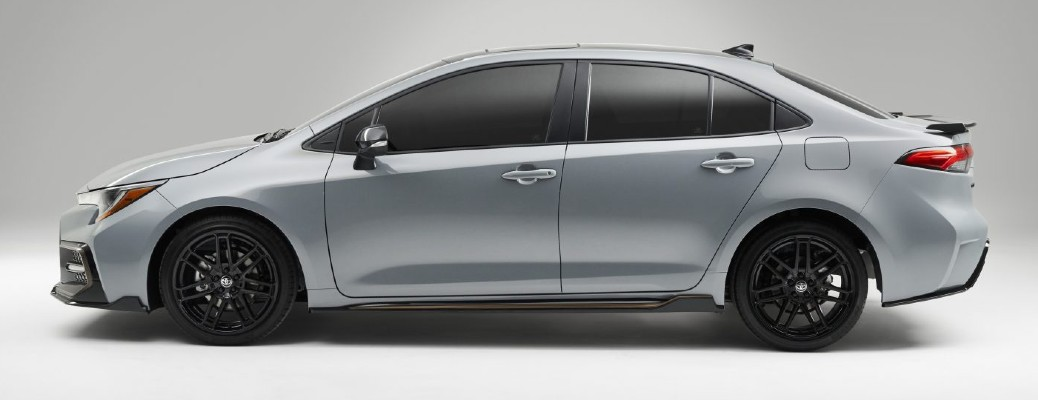 Side view of silver 2021 Toyota Corolla Apex Edition