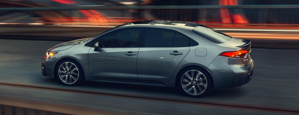 2021 Toyota Corolla gray side back view at night