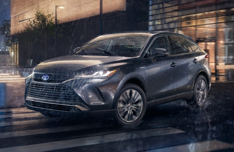 2021 Toyota Venza gray front view in the rain