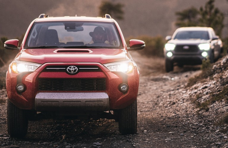 2021 Toyota 4Runner red and white front view off-road