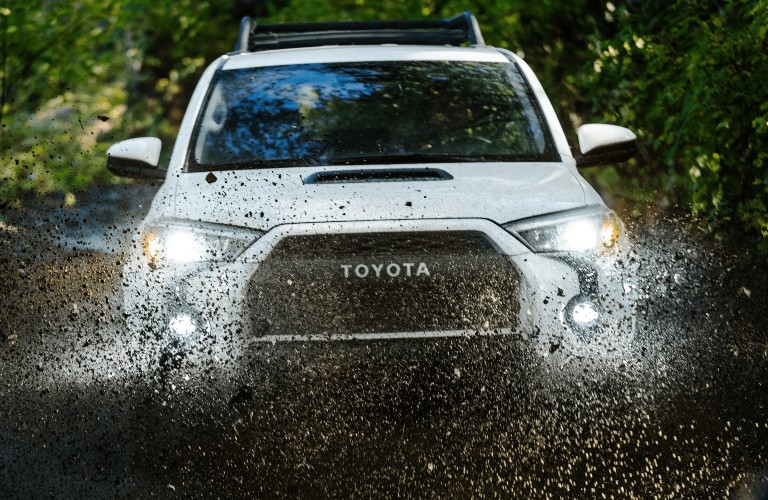 2021 Toyota 4Runner white front view in mud