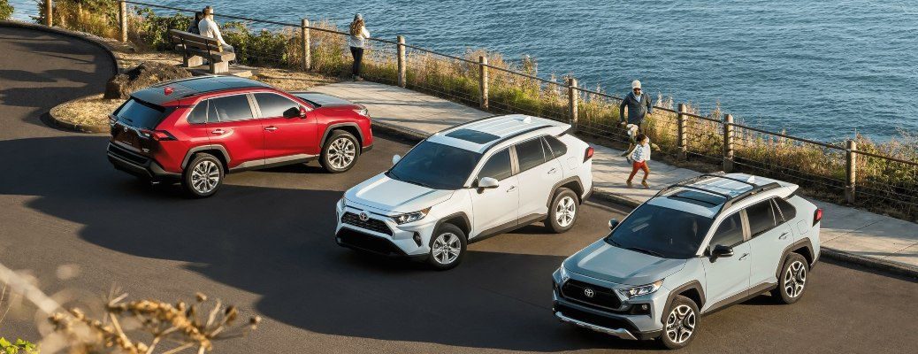 2021 Toyota RAV4 models lined up top view